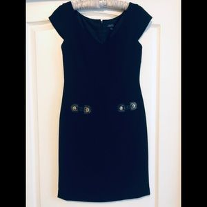 Tahari ASL black slim midi dress 2